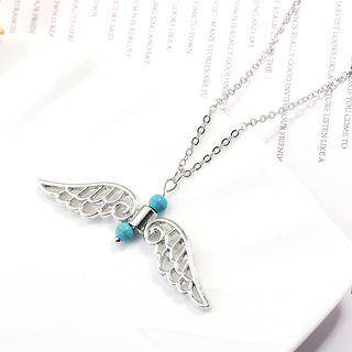 Alloy Wings Pendant Necklace Silver - One Size