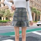 Plaid Mini Mermaid Pencil Skirt