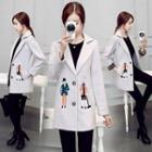 Wool Blend Notched-lapel Embroidered Coat