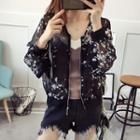 Floral Sheer Zip Jacket