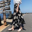 Flower Print Midi Wrap Chiffon Skirt