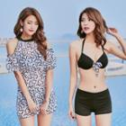 Set: Bow-accent Bikini + Patterned Beach Cover