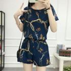 Set: Butterfly Print Short-sleeve Chiffon Top + Shorts