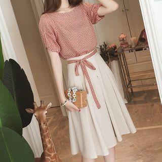 Short-sleeve Plaid Blouse / Midi A-line Skirt
