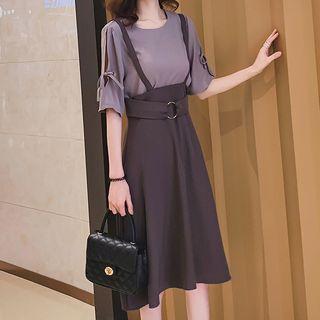 Set: Short-sleeve Top + A-line Jumper Skirt
