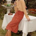 Floral Print Corduroy Midi Pencil Skirt