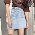 Tie-waist Pocketed Strappy A-line Plain Denim Skirt