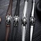Stainless Steel Skull Braided Leather Bracelet