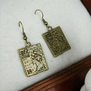Copper Stamp Earrings Copper - One Size