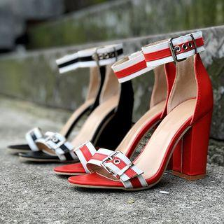 Striped Buckled Chunky Heel Ankle Strap Sandals