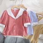 Short-sleeve Plaid Contrast Collar Buttoned Top