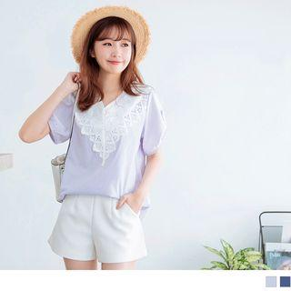 Lace Panel V-neck Short Sleeve Striped Top