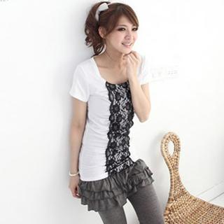 Short-sleeve Lace-trim Top