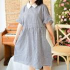 Check Elbow-sleeve A-line Dress Gingham - Black - One Size