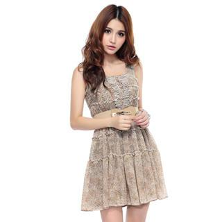 Sleeveless Patterned Chiffon Dress