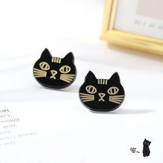 Cat Stud Earring Stud Earring - 1 Pair - Cat - Black - One Size