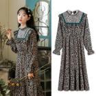 Floral Long-sleeve Mesh Panel Chiffon Dress