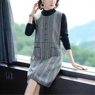 Mock-turtleneck Chevron Panel Midi Knit Dress