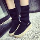 Knit-panel Short Boots