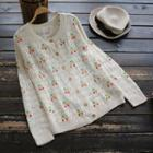 Embroidered Open-knit Cardigan