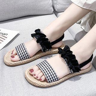 Plaid Fabric Roman Flat Sandals