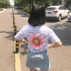 Floral Print Back Short Sleeve T-shirt
