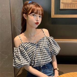 Puff-sleeve Cold Shoulder Plaid Top As Shown In Figure - One Size