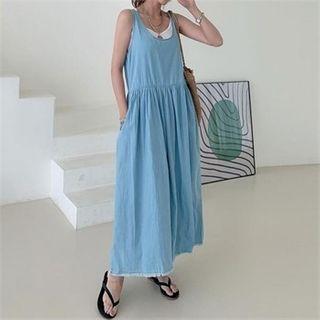 Shirred Maxi Denim Pinafore Dress