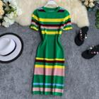 Short-sleeve Striped Midi Knit Sheath Dress