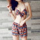 Set: Patterned Bikini + Swim Shorts + Cover-up