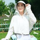 Plain Hooded Sun Protection Light Jacket