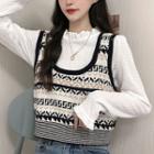 Long-sleeve Mock-neck Top / Patterned Knit Tank Top