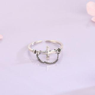 925 Sterling Silver Chain Strap Cross Open Ring Rs520 - Silver - One Size