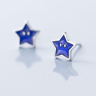 925 Sterling Silver Star Stud Earring Blue - One Size