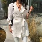 Double Breasted Tie Waist Blazer White - One Size