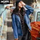 Loose-fit Distressed Denim Hooded Jacket