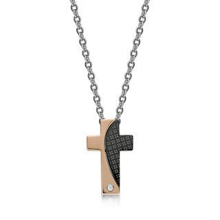 Crystal Cross Checked Pendant With Necklace (ip Rose Gold) Ip Rose Gold - One Size