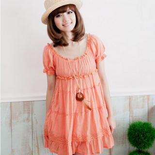 Crochet-trim Tiered Babydoll Dress
