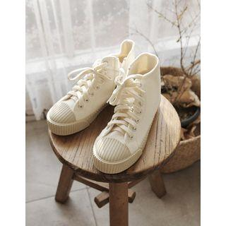 Zip-side Stitched Canvas Sneakers