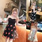 Butterfly Patterned Strapless Dress