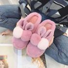 Rabbit Ear Pompom Slippers