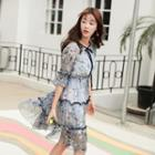 Floral Print Tiered Elbow-sleeve Dress