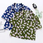 Floral Print Short-sleeve Cropped Shirt