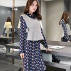 Set: Patterned Dress + Knit Vest