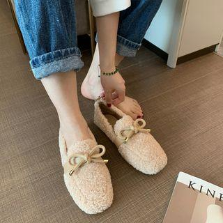 Faux Shearling Ribbon Loafers