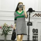 3/4-sleeve V-neck Striped Dress