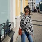 Patterned Wool Blend Knit Top