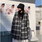 Hooded Plaid Zip Jacket Gray - One Size