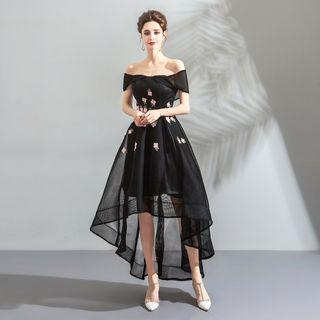 Off-shoulder Short-sleeve Embroidered High-low Prom Dress