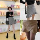 Ruffle-hem Houndstooth Miniskirt